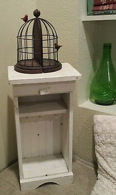 """21"""" Vtg Wood Curio Cabinet Hang Stand Display Shelf Table Top  white shabby Wall"""