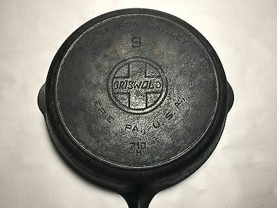 Old Very Rare Griswold Cast Iron #9 Skillet SLANT Logo 710 H w/ Heat ring