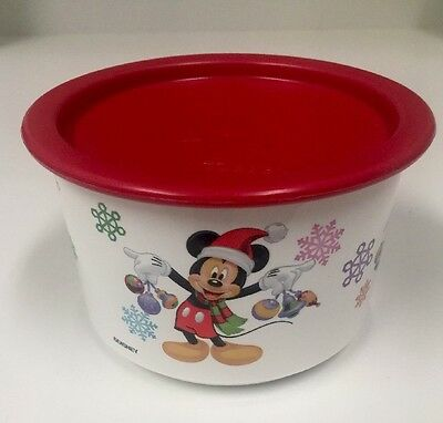 Vintage Tupperware Disney Christmas Mickey n Minnie Mouse Canister w Red Lid