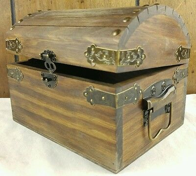 Rustic Wooden Treasure Chest Keepsake Box w/ Hook & Latch