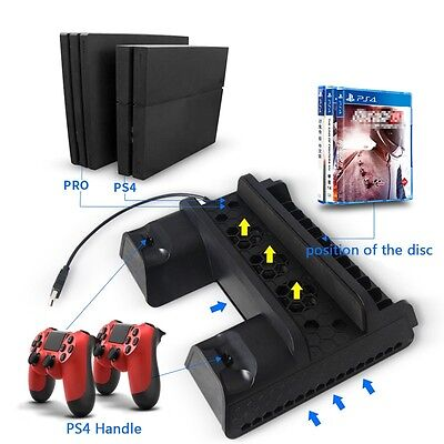 5V Vertical Stand Dual USB Charger & Cooling Dock For PS4 Slim PS4 Pro Console