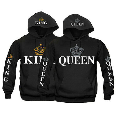 King & Queen Love Matching Shirts Couple Hoodie Sweater Couple Hooded Tee Tops