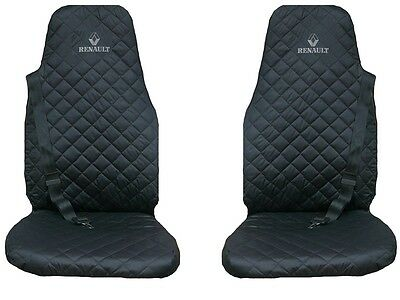Renault Premium 2006 - 2012 Truck Seat Covers 2 piece (1+1) BLACK with GRAY LOGO