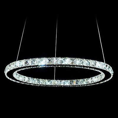 Modern 16W LED Crystal Pendant Oval Ring Lamp Ceiling Light Fitting Fixture 30CM