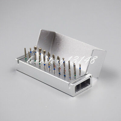 30 Holes Dental Diamond Burs Drill + Disinfection Bur Block High Speed Handpiece