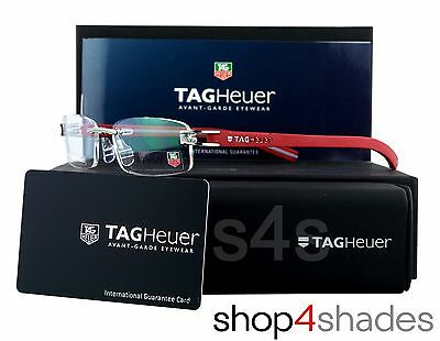 TAG Heuer Reflex Fold Track S Rimless Glasses Frame DARK RED_GREY_LAVA 7642 013