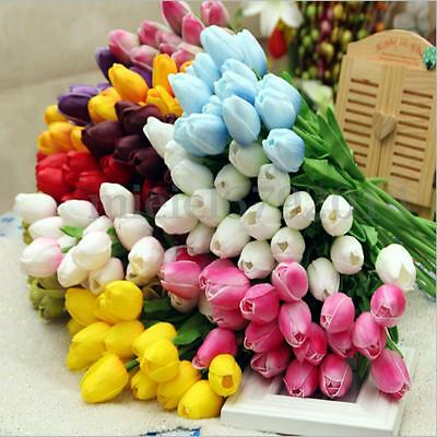 10 Head Fake Artificial Flower Tulip Bouquet Wedding Party Home Decor Real Touch