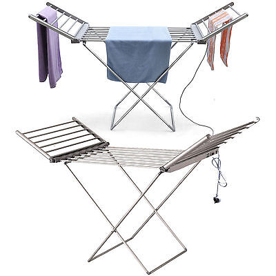 Portable Airer Dryer Heated Clothes Indoor Horse Rack Laundry Folding Washing