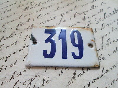 "Antique French Enamel Metal Door House -Gate Number Sign white& blue ""319"""