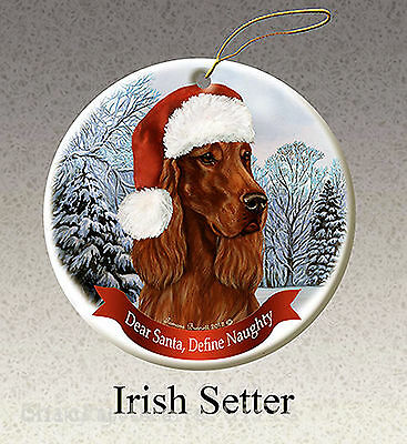 Pet Gifts USA Irish Setter Christmas Ornament Santa Hat