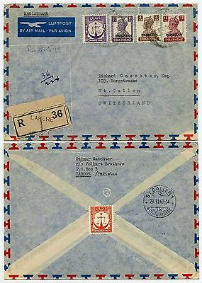 PAKISTAN 1949 INDIA SURCHARGES MIXED ISSUES REGISTERED to SWITZERLAND AIRMAIL