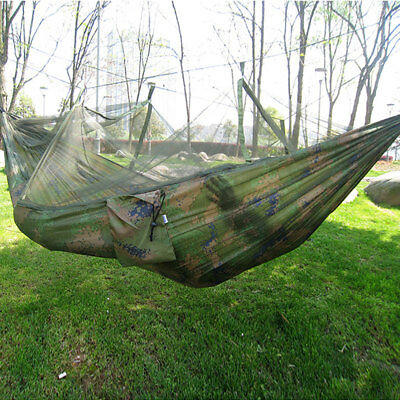 Single Person Portable Parachute Fabric Mosquito Net Hammock Indoor Outdoor New