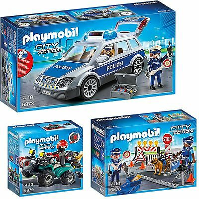 PLAYMOBIL® City Action 3er Set 6873 6878 6879 Polizeiwagen Straßensperre Quad
