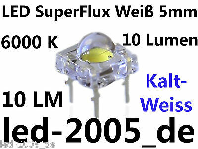 30 x LED Super Flux 5mm Weiss 10 Lumen 6000K 20mA,LED SuperFlux 5mm Bianchi,