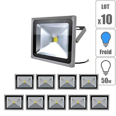 Lot x10 Projecteur led spot 50W Blanc Froid étanche IP65