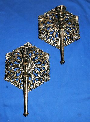 Set of 2 Vtg 1977 Homco Wall Sconces Candle Holders Gothic Gold Black 4192