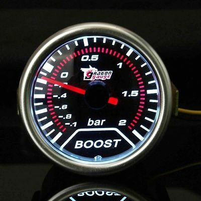 2 Inch Universal Car Red Led Boost Auto Gauge -1 to 2 Bar Metre. UK SELLER