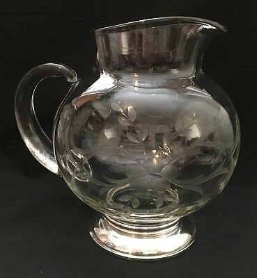 Vintage Sterling Silver Base Wheel Etched Clear Glass Round Water Pitcher Floral