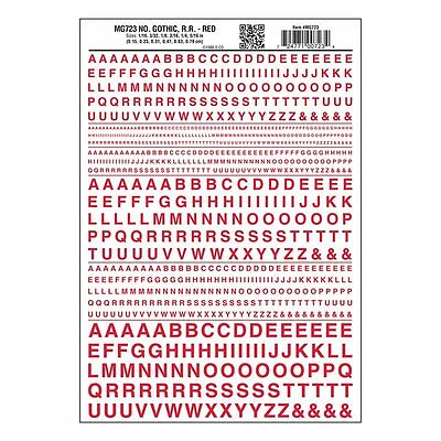 Letters Dry Transfer Sheet, Gothic RR Red Dt - Woodland Scenics MG723