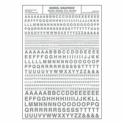 Letters Dry Transfer Sheet, Gothic RR Silver Dt - Woodland Scenics MG725