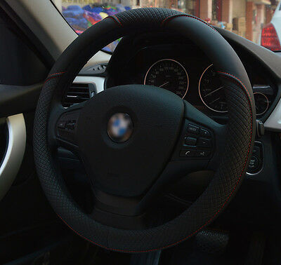 Black PU leather 15'' 38cm Car Auto Steering Wheel Cover All Seasons Durable