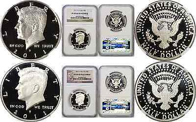 2011-S 50C Kennedy Half Dollar 2 Coin Set Silver&CN Both NGC PF 69 Ultra Cameo