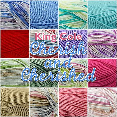 King Cole Cherish/ Cherished Soft Baby Double Knit Knitting Wool Yarn 100g Ball