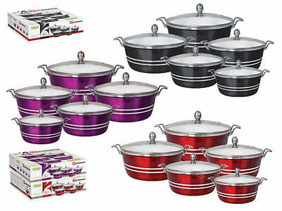 Solid Die Cast Metallic Colour White Ceramic Coated Casserole Set 5 Pieces