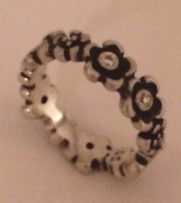 Pandora ALE Sterling Silver Flower Ring With CZs, Size 7.25