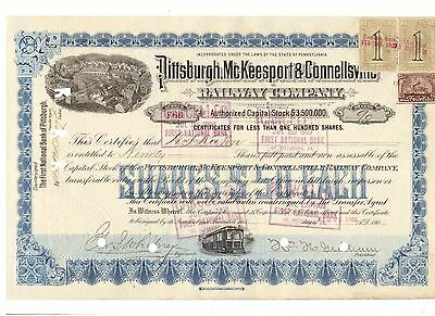 Pittsburgh Mc Keesport & Connellsville Railway Company 1902   Revenue Stamps