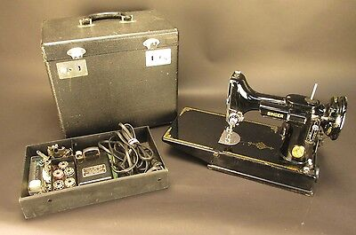 Vintage 1948 Singer Featherweight 221-1 Sewing Machine with Case and Accessories