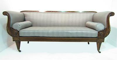 Antique Regency Rosewood Sofa Chaise Loungue Silver Upholstery