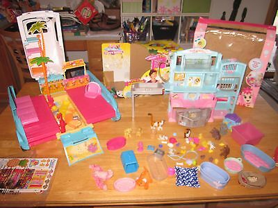 Barbie Puppy Chase Mobile Vehicle SUV Dogs Vet Pet Shop LOT Animals Fish Cats