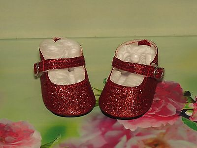 Shoes To Fit The Galoob Baby Face American Girl Doll Red Glitter Maryjane