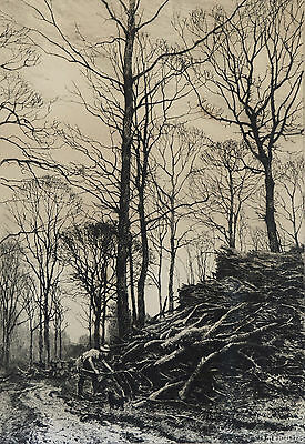 "Framed Engraving - Frederick Slocombe ""winter Fuel"" Circa 1880"
