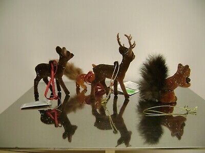 Deer Reindeer Holiday Christmas  Gluckstein Germany Ornaments Set2