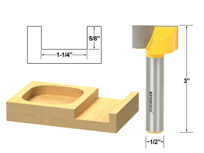 """1-1/4"""" Diameter Bottom Cleaning Router Bit - 1/2"""" Shank - Yonico 14975"""