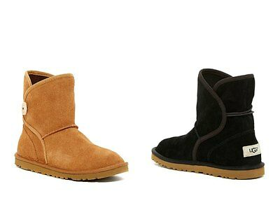 UGG Girls Leona Suede Booties - Black & Chestnut Brown - UGGPure Kids