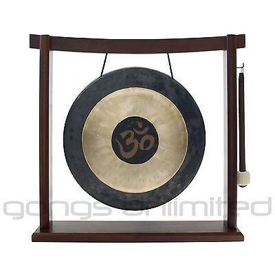 """12"""" Om Engraved Chau Gong on the Woodsonic Gong Stand with Mallet"""