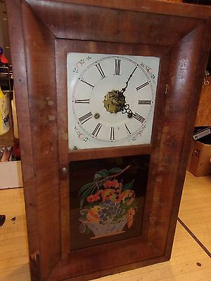 Antique Patent Brass Mantel Wall Clock ANSONIA Parlor Weight Driven Key Wind