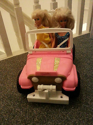 Vintage Barbie Beach Party Blast Jeep With Gold-tone Rims Rare With 2 barbies