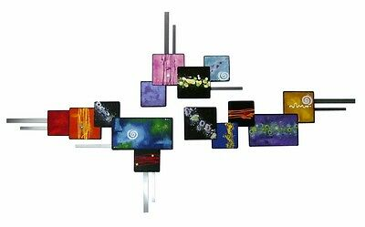 Colorful Vibrant Handpainted 3pc Abstract Square Wood Wall Sculpture w/Metal