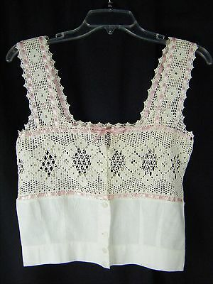 Antique Victorian Ivory Crochet Lace Camisole w/Pink Ribbon-Bust 30/2XS