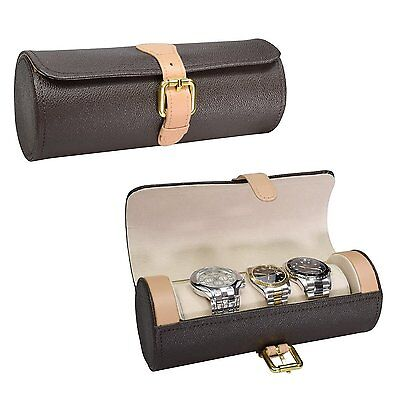 NILECORP Leatherette Watch Storage Travel Case For 3 Watches FREE SHIPPING