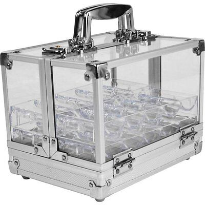 600 Pc Clear Acrylic Case w/ 6 100 Pc Chip Tray Carrier Casino Cards Poker Racks
