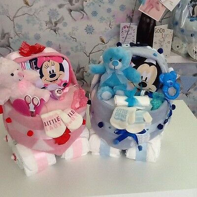 Baby Shower Girl / Boy Gift - Nappy Cake Pram Minnie Or Micky Mouse Designs