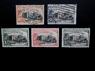 CHILE 1923  Pan-American Congress set  Sc# 149-153 mint MH OG (149 + 150 Used)
