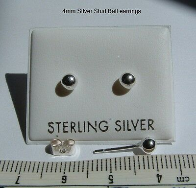 New 925 Sterling Silver 4mm ball stud Earrings in box