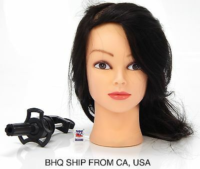 """18"""" Cosmetology Mannequin Head 100% Human Hair With Table Clamp"""