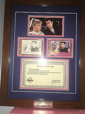 GREASE - 1978 Topps Grease PROOF (2) Card Set #50. Framed in a Shadow Box.